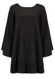 SUNDRESS Indiana Basic Short Dress Cover Up - Black & Turquoise