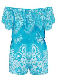 VALERIE KHALFON Conga Playsuit - White & Turquoise