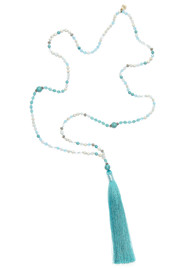 TRIBE + FABLE Extra Large Tassel Necklace - Turquoise & White
