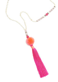 TRIBE + FABLE Pom Pom Tassel Necklace - Coral & Pink