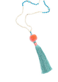 TRIBE + FABLE Pom Pom Tassel Necklace - Coral & Turquoise