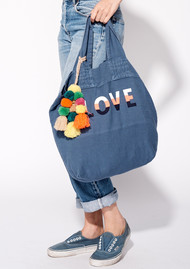 SUNDRY Love Tote Bag with Pom Poms - Pigment Navy