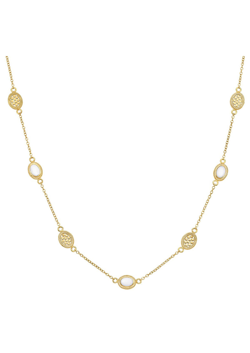 Anna Beck White Agate Station Necklace Gold