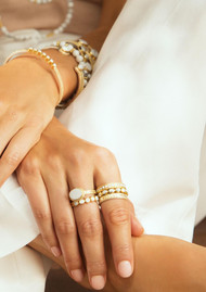 ANNA BECK Howlite & White Agate Set of 3 Stacking Rings - Gold