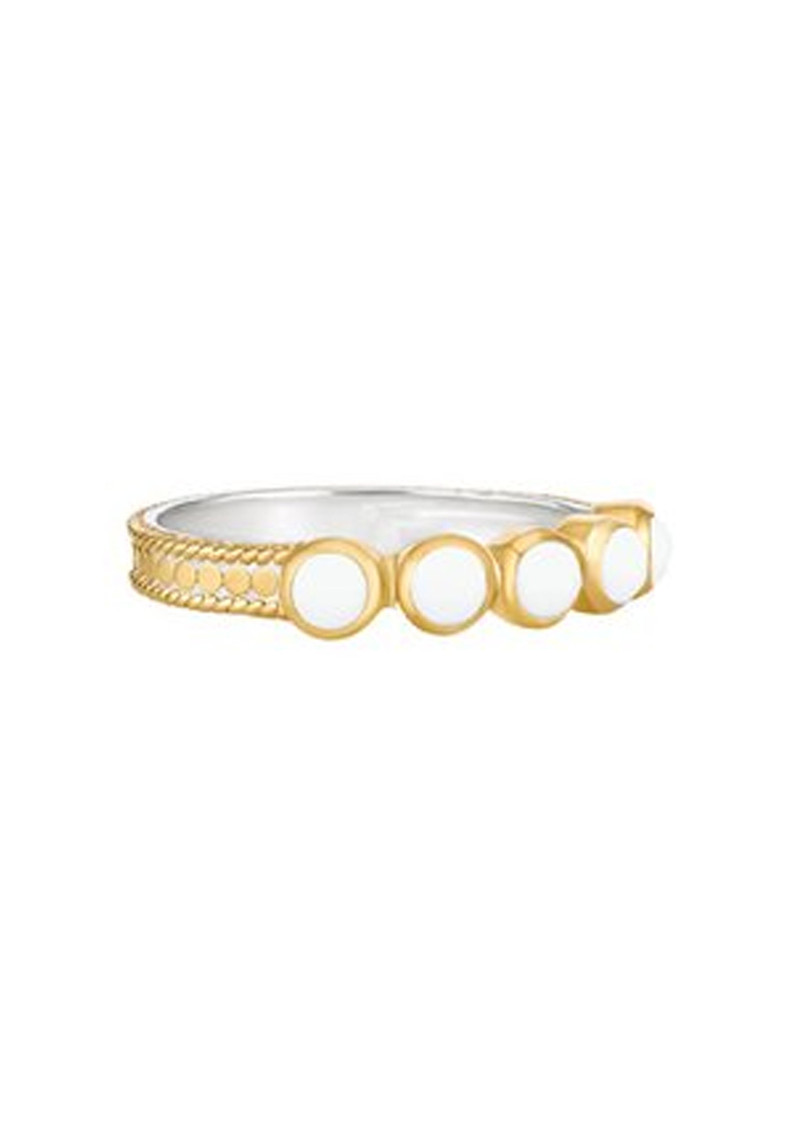 ANNA BECK Clarity White Agate Multi Stone Ring - Gold main image