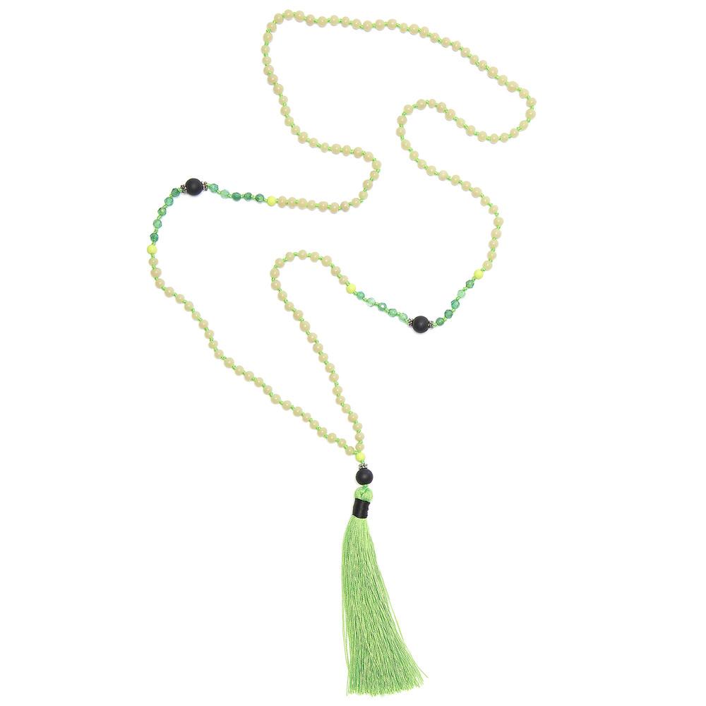 Single Tassel Necklace - Vivid Lime