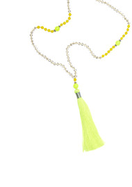 TRIBE + FABLE Single Tassel Necklace - Lime & Crystal