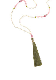 TRIBE + FABLE Single Tassel Necklace - Khaki & Pink