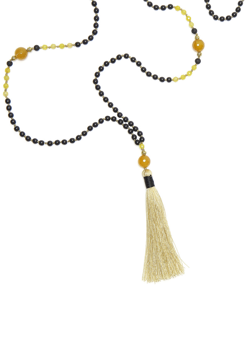 TRIBE + FABLE Single Tassel Necklace - Golden Temple main image