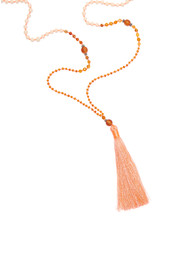 TRIBE + FABLE Single Tassel Necklace - Fine Coral