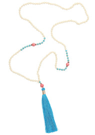 TRIBE + FABLE Single Tassel Necklace - Cobalt & Cream