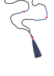 TRIBE + FABLE Single Tassel Necklace - Navy & Pink