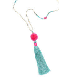 TRIBE + FABLE Pom Pom Tassel Necklace - Pink & Turquoise