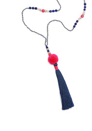 TRIBE + FABLE Pom Pom Tassel Necklace - Navy & Pink