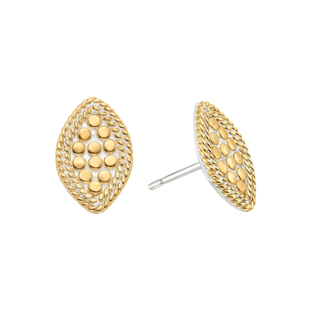 Marquise Stud Earrings - Gold
