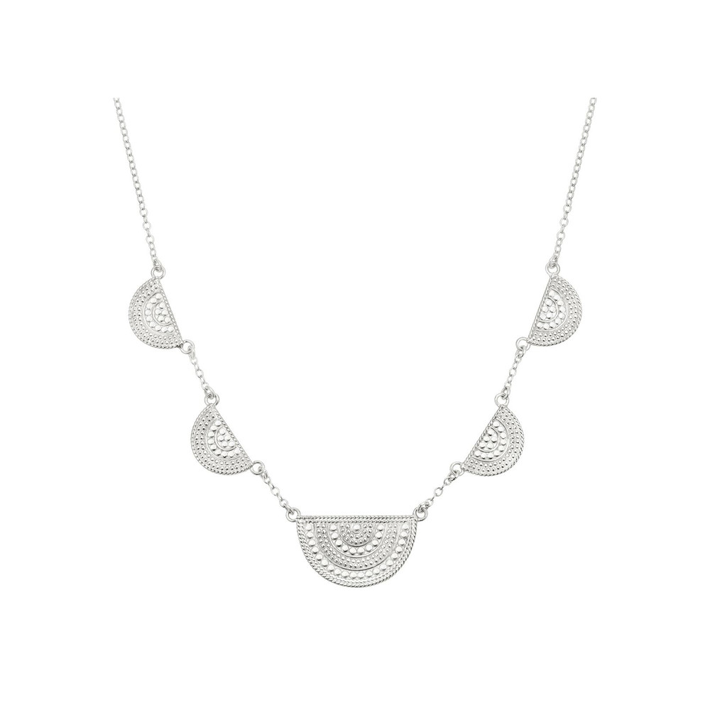 Half Moon Divided Station Necklace - Silver
