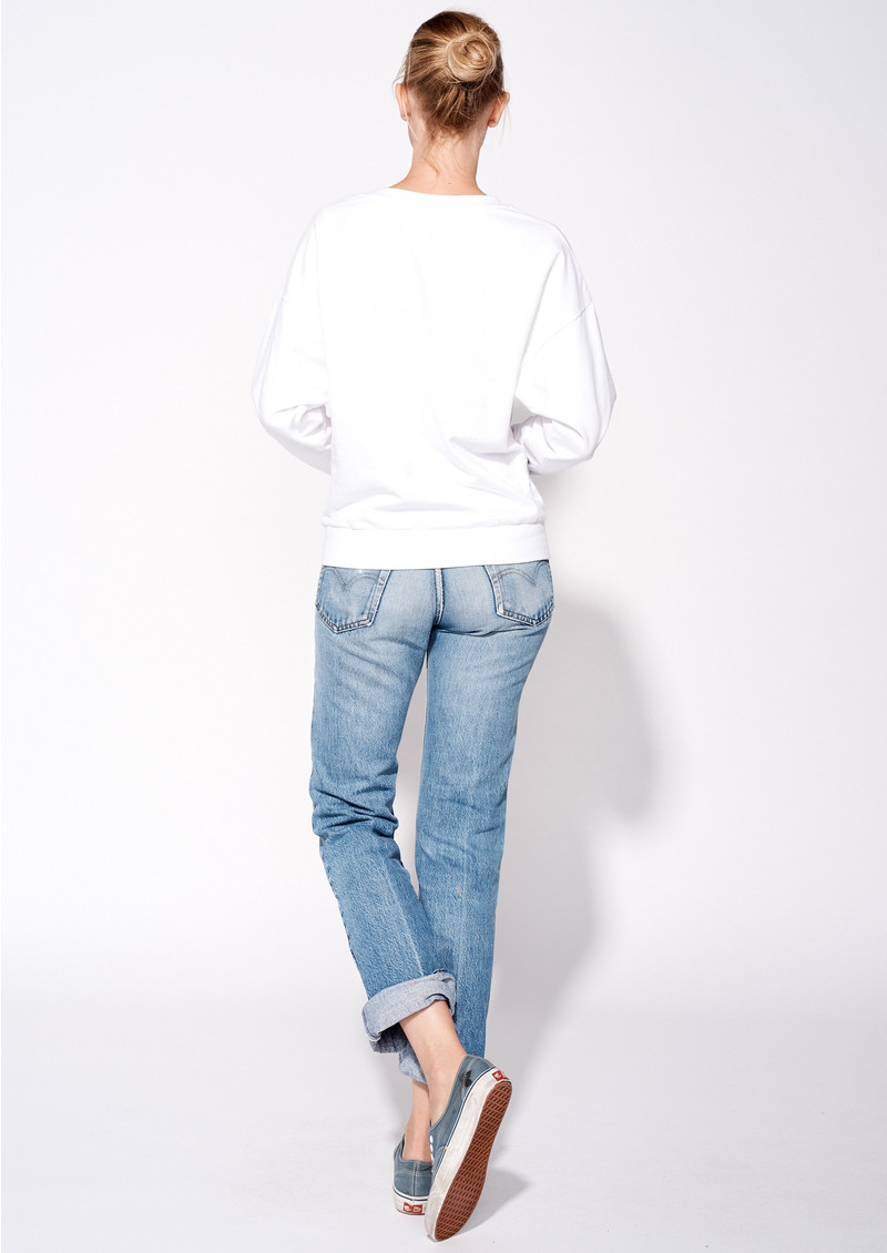 SUNDRY Floral Embroidered Sweatshirt - White main image