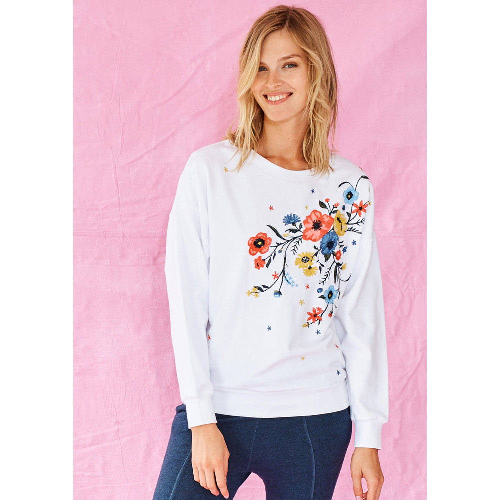 Floral Embroidered Sweatshirt - White
