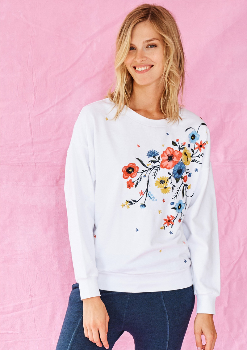 SUNDRY Floral Embroidered Sweatshirt - White main image