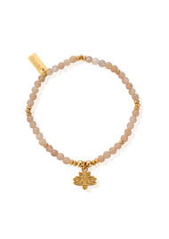 ChloBo Cherabella Floating Lotus Bracelet - Gold & Peach Moonstone