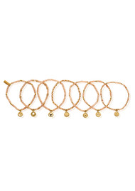 ChloBo Good Vibrations Set of 7 Bracelets - Gold & Peach Moonstone