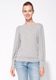 SUNDRY Puff Sleeve Top - Heather Grey