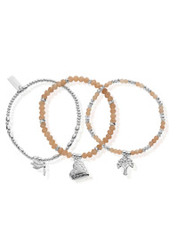ChloBo Cherabella Strength, Love and Harmony Set of 3 Bracelets - Silver & Peach Moonstone