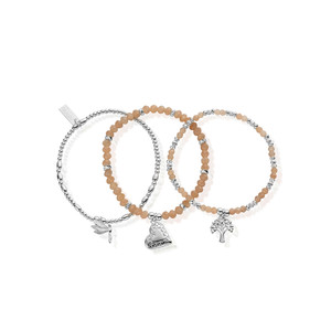 Cherabella Strength, Love and Harmony Set of 3 Bracelets - Silver & Peach Moonstone