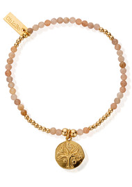 ChloBo Cherabella Tree of Life Bracelet - Gold & Peach Moonstone