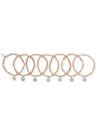 ChloBo Good Vibrations Set of 7 Bracelets - Silver & Peach Moonstone