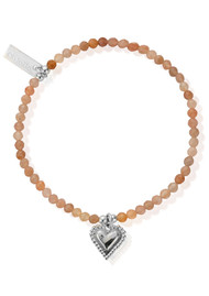 ChloBo Cherabella Graceful Heart Bracelet - Silver & Peach Moonstone
