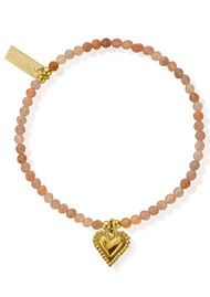 ChloBo Cherabella Graceful Heart Bracelet - Gold & Peach Moonstone