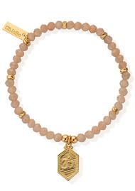 ChloBo Cherabella Tranquil Om Bracelet - Gold & Peach Moonstone