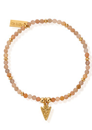 ChloBo Cherabella Arrow Head Bracelet - Gold & Peach Moonstone