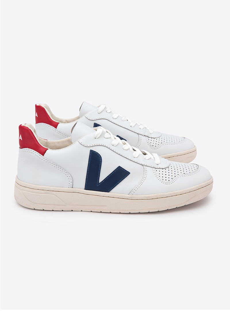 VEJA V-10 Leather Trainers - Extra White & Nautico Pekin main image