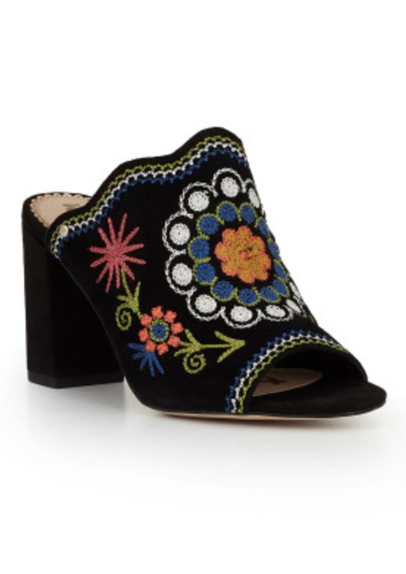 Sam Edelman Olive Block Heel Embroidered Mule Black