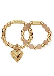 ChloBo Cherabella Graceful Heart Set of 2 Rings - Gold & Peach Moonstone