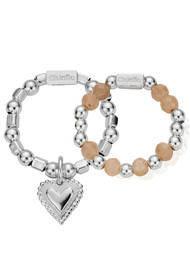 ChloBo Cherabella Graceful Heart Set of 2 Rings - Silver & Peach Moonstone