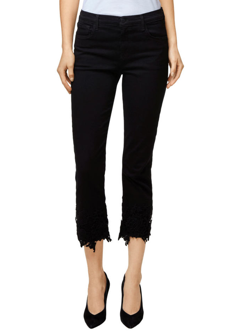 more photos lowest price hot products J Brand Ruby High Rise Cropped Cigarette Jeans - Black Lace