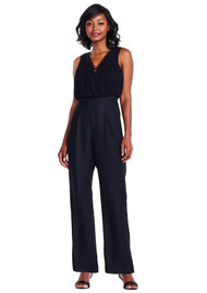 ADRIANNAPAPELL Beaded Georgette Wide Leg Jumpsuit - Black