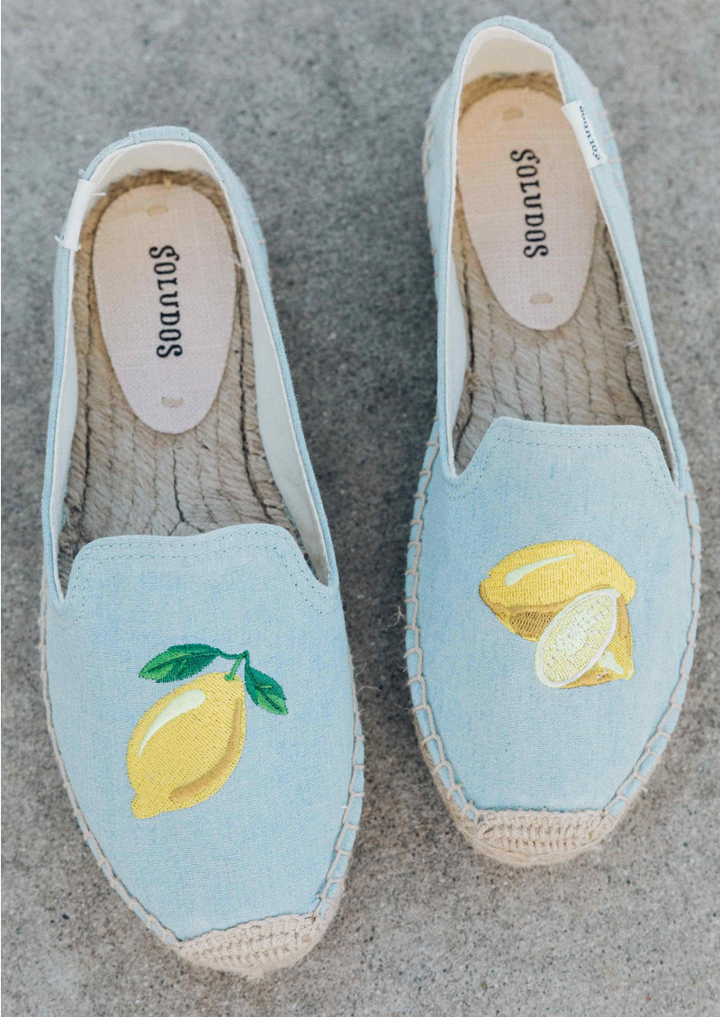 SOLUDOS Lemon Platform Smoking Slipper - Chambray main image
