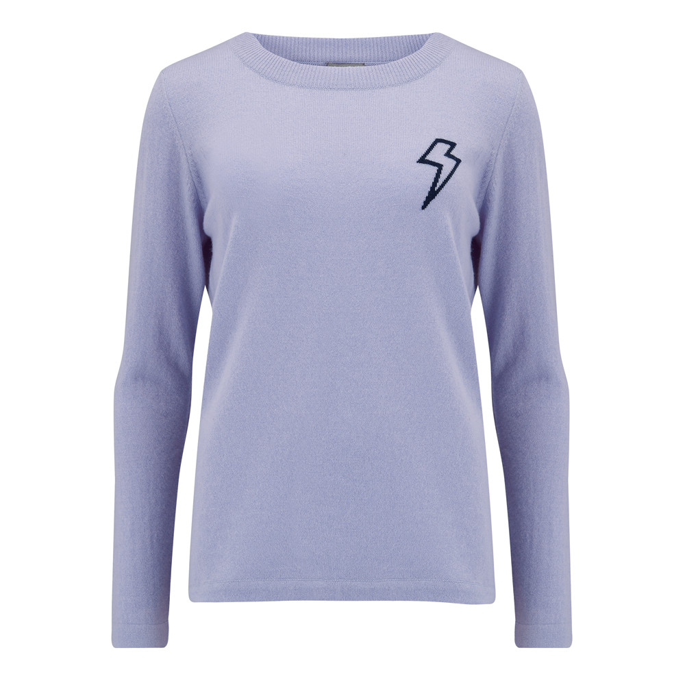 Baby Bowie Plain Jumper - Lilac & Navy