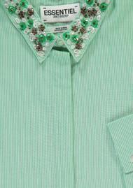 ESSENTIEL ANTWERP Pepsa Embellished Shirt - Green & White