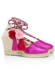 AIR & GRACE Shimmie Espadrille Wedge - Pink Metallic