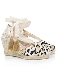 AIR & GRACE Shimmie Espadrille Wedge - Gold Leopard