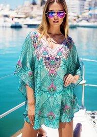 LINDSEY BROWN Crete Sparkly Kaftan - Aqua