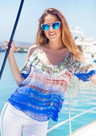 LINDSEY BROWN Majorca Cold Shoulder Silk Top - Cobalt & Aqua