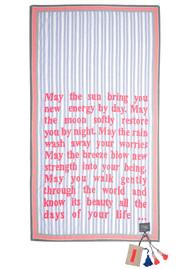 KARIEN BELLE Poetry Scarf - Blue Stripe & Neon Coral