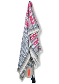 KARIEN BELLE Poetry Fringed Scarf - Neon Coral & Grey Stripe