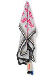 KARIEN BELLE Poetry Fringed Scarf - White Stripe & Neon Coral